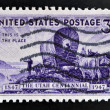 Stock Photo: UNITED STATES OF AMERIC- CIRC1947: stamp printed in USshows Pioneers entering Valley of Great Salt Lake, devoted to Utah Settlement Centenary, circ1947