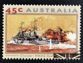 AUSTRALIA - CIRCA 1993: A stamp printed in Australia shows Second World War Naval Vessels. H.M.A.S Sydney II (Cruiser), circa 1993 — Stock Photo