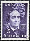AUSTRIA - CIRCA 1962: stamp printed in Austria shows Johann Nestroy, circa 1962 — Stock Photo