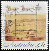 AUSTRALIA - CIRCA 1990: A stamp printed in Australia shows The Diggings, circa 1990 — Foto Stock