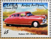 CUBA - CIRCA 2002: stamp printed in Cuba dedicated to retro car, shows Hudson 1951, Hornet model, circa 2002 — Photo