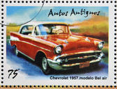 CUBA - CIRCA 2002: stamp printed in Cuba dedicated to retro car, shows Chevrolet 1951, Bel air model, circa 2002 — Foto Stock
