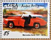 CUBA - CIRCA 2002: stamp printed in Cuba dedicated to retro car, shows Mercedes Benz 1957,190 SL, circa 2002 — Stock Photo