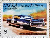 Kuba - circa 2002: znaczek wydrukowany na Kubie dedykowane do samochodów retro, pokazuje cadillac 1959, modelu fleetwood, circa 2002 — Zdjęcie stockowe