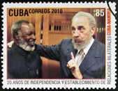 CUBA - CIRCA 2010: A stamp printed in Cuba shows Fidel Castro and Sam Nujoma, leader of the independence of Namibia, circa 2010 — Stock Photo