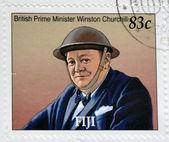 FIJI - CIRCA 2005: A stamp printed in Fiji shows British Prime Minister Winston Churchill, circa 2005 — 图库照片