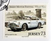 JERSEY - CIRCA 2005: Stamp printed in Jersey dedicated to classic cars, shows Aston Martin DB5, circa 2005 — Foto Stock