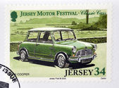 JERSEY - CIRCA 2005: Stamp printed in Jersey dedicated to classic cars, shows Mini Cooper, circa 2005 — Stock Photo