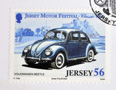 JERSEY - CIRCA 2005: Stamp printed in Jersey dedicated to classic cars, shows Volkswagen Beetle, circa 2005 — Stock Photo