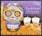 MEXICO - CIRCA 2012: A stamp printed in Mexico dedicated to Mexican traditions, showing Day of the Dead, circa 2012 — Stock Photo