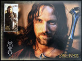 NEW ZEALAND - CIRCA 2003: A stamp printed in New Zealand dedicated to The Lord of the Rings shows Aragorn, circa 2003 — Stock Photo