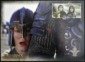 NEW ZEALAND - CIRCA 2003: A stamp printed in New Zealand dedicated to The Lord of the Rings shows Merry and Pippin, circa 2003 — Stock Photo