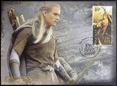 Nova zelândia - circa 2003: selo impresso pela nova zelândia, mostra o legolas, tiro com arco no senhor dos anéis trilogia, cerca de 2003 — Fotografia Stock