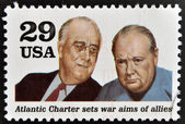 UNITED STATES OF AMERICA - CIRCA 1995: a stamp printed in USA shows president Franklin D. Roosevelt and sir Winston Churchill in the Second World War, circa 1995. — Stock Photo