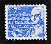 UNITED STATES OF AMERICA - CIRCA 1970: A stamp printed in USA shows Benjamin Franklin, circa 1970 — 图库照片