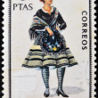 SPAIN - CIRCA 1967: A stamp printed in Spain dedicated to Provincial Costumes shows a woman from Badajoz, circa 1967 — Stock Photo