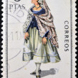 SPAIN - CIRCA 1970: A stamp printed in Spain dedicated to Provincial Costumes shows a woman from Tarragona, circa 1970 — Stock Photo