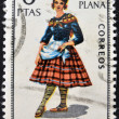 SPAIN - CIRCA 1967: A stamp printed in Spain dedicated to Provincial Costumes shows a woman from Castellon, circa 1967 — Stock Photo
