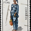 SPAIN - CIRCA 1968: A stamp printed in Spain dedicated to Provincial Costumes shows a woman from Fernando Poo, circa 1968 — Stock Photo