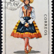 SPAIN - CIRCA 1970: A stamp printed in Spain dedicated to Provincial Costumes shows a woman from Segovia, circa 1970 — Stock Photo