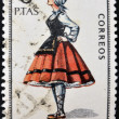 SPAIN - CIRCA 1967: A stamp printed in Spain dedicated to Provincial Costumes shows a woman from Alava, circa 1967 — Stock Photo