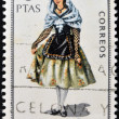 SPAIN - CIRCA 1968: A stamp printed in Spain dedicated to Provincial Costumes shows a woman from Gerona, circa 1968 — Stock Photo