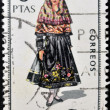 SPAIN - CIRCA 1969: A stamp printed in Spain dedicated to Provincial Costumes shows a woman from Leon, circa 1969 — Foto de Stock