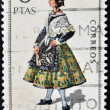 SPAIN - CIRCA 1971: A stamp printed in Spain dedicated to Provincial Costumes shows a woman from Zaragoza, circa 1971 — Stock Photo