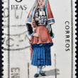SPAIN - CIRCA 1969: A stamp printed in Spain dedicated to Provincial Costumes shows a woman from Navarra, circa 1969 — Stock Photo