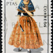 SPAIN - CIRCA 1967: A stamp printed in Spain dedicated to Provincial Costumes shows a woman from Balearic Islands, circa 1967 — Stock Photo