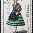 SPAIN - CIRCA 1967: A stamp printed in Spain dedicated to Provincial Costumes shows a woman from Albacete, circa 1967 — Stock Photo