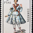 SPAIN - CIRCA 1969: A stamp printed in Spain dedicated to Provincial Costumes shows a woman from Logroño, circa 1969 — Stok fotoğraf