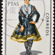 SPAIN - CIRCA 1968: A stamp printed in Spain dedicated to Provincial Costumes shows a woman from Ciudad Real, circa 1968 — Stock Photo