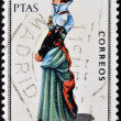 SPAIN - CIRCA 1968: A stamp printed in Spain dedicated to Provincial Costumes shows a woman from Huesca, circa 1968 — Foto Stock