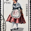 SPAIN - CIRCA 1967: A stamp printed in Spain dedicated to Provincial Costumes shows a woman from Barcelona, circa 1967 — Stock Photo #27125577