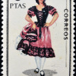 SPAIN - CIRCA 1967: A stamp printed in Spain dedicated to Provincial Costumes shows a woman from Cadiz, circa 1967 — Foto Stock