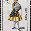 SPAIN - CIRCA 1968: A stamp printed in Spain dedicated to Provincial Costumes shows a woman from Huelva, circa 1968 — Stock Photo