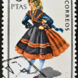 SPAIN - CIRCA 1967: A stamp printed in Spain dedicated to Provincial Costumes shows a woman from Caceres, circa 1967  — Stock Photo