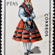 SPAIN - CIRCA 1969: A stamp printed in Spain dedicated to Provincial Costumes shows a woman from Orense, circa 1969 — Stock Photo