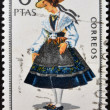 SPAIN - CIRCA 1968: A stamp printed in Spain dedicated to Provincial Costumes shows a woman from Coruña, circa 1968 — Stock Photo