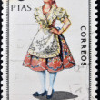 SPAIN - CIRCA 1969: A stamp printed in Spain dedicated to Provincial Costumes shows a woman from Murcia, circa 1969 — Stock Photo