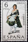 西班牙-大约 1969年: 在西班牙致力于省级服饰邮票显示一个女人从莱里达,大约 1969年 — 图库照片