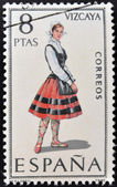 SPAIN - CIRCA 1971: A stamp printed in Spain dedicated to Provincial Costumes shows a woman from Vizcaya, circa 1971 — Stock Photo