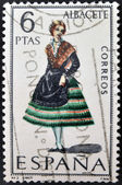 SPAIN - CIRCA 1967: A stamp printed in Spain dedicated to Provincial Costumes shows a woman from Albacete, circa 1967 — Stock fotografie
