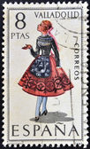 SPAIN - CIRCA 1971: A stamp printed in Spain dedicated to Provincial Costumes shows a woman from Valladolid, circa 1971 — Stock Photo