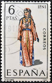 SPAIN - CIRCA 1969: A stamp printed in Spain dedicated to Provincial Costumes shows a woman from Ifni, circa 1969 — Stock Photo