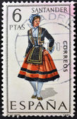 SPAIN - CIRCA 1970: A stamp printed in Spain dedicated to Provincial Costumes shows a woman from Santander, circa 1970 — Stock Photo