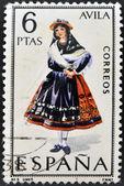 Spanje - circa 1967: een stempel gedrukt in spanje gewijd aan provinciale kostuums toont een vrouw uit avila, omstreeks 1967 — Stockfoto