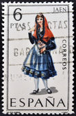 SPAIN - CIRCA 1969: A stamp printed in Spain dedicated to Provincial Costumes shows a woman from Jaen, circa 1969 — Stock Photo