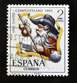 SPAIN - CIRCA 1965: stamp printed in Spain, shows Pilgrim, Año Santo Compostela, circa 1965 — Foto de Stock